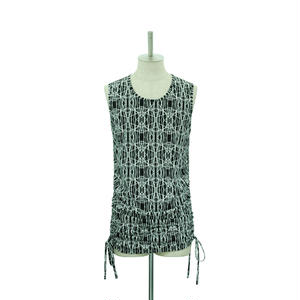 Geometric Side Shirring Tank Top