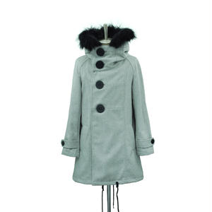 Big Button Hooded Coat / Light Gray
