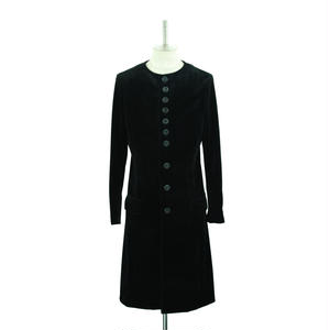 No Collar Velour Long Coat