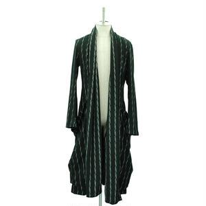 Stole Collar Long Coat / Lightning Stripe