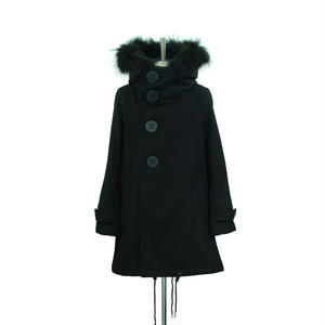 【Last1】Big Button Hooded Coat / Black