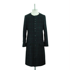【Last1】No Collar Check Long Coat