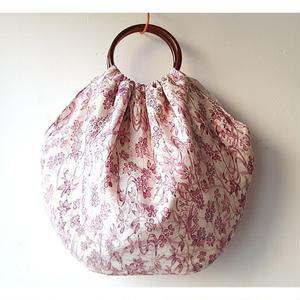 バルーンバック ピンク 花小紋 正絹 プラ持ち手