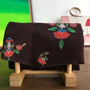 帯 じゃばらカードケース チャックポケット付 紫 小花