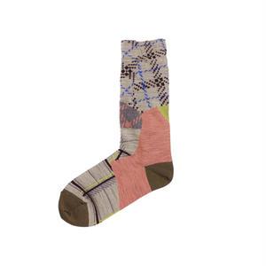 patchwork texture socks/ベージュ
