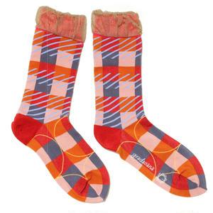 pattern layer socks / ピンク