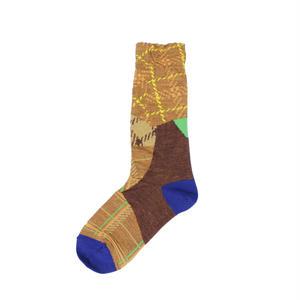 patchwork texture socks/ブラウン