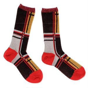 retro check socks / ブラック
