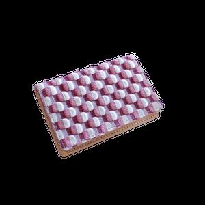 豚革友禅名刺ケース / ブロックチェック柄 / ピンク