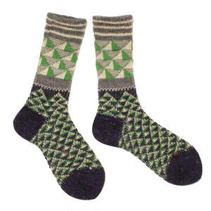 triangle light mix socks / グリーン