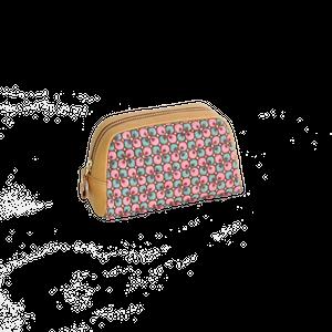 豚革友禅ポーチ / ぐりぐり柄&ブロックチェック柄 / ピンク&ピンク