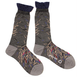 bloken herringbone sock / グレー
