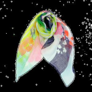 Flower base printスカーフ/レッド