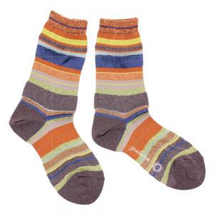 retro multi border socks  / ブラウン