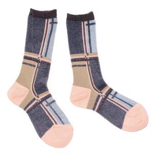 retro check socks / グレー