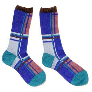 retro check socks / ブルー