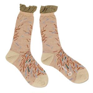 bloken herringbone sock / ベージュ