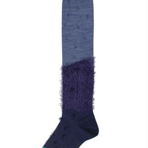 fur mix high socks/ネイビー