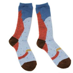 sleep cat socks / レッド