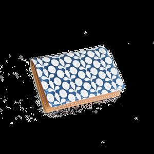 豚革友禅名刺ケース / ボタニカル柄(単色) / ブルー