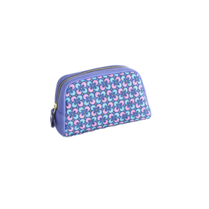 豚革友禅ポーチ / ぐりぐり柄&バイヤスチェック柄 / ブルー&ブルー
