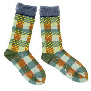 pattern layer socks / グリーン
