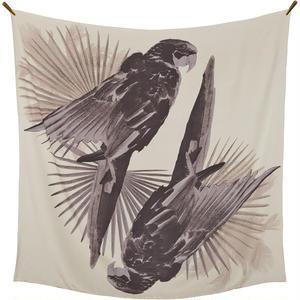 〝PARROTS  TALK 〟鳥柄 大判シルクスカーフ 春夏 北欧 デンマーク