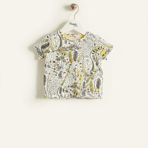 【organic cotton】きのこイラスト半袖Tシャツ(イエロー/ベビー)
