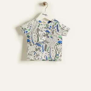 【organic cotton】きのこイラスト半袖Tシャツ(ブルー/ベビー)