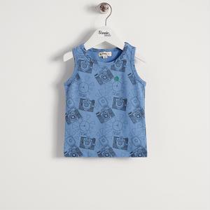 【organic cotton】カメラプリントノースリーブTシャツ(ブルー/ベビー)