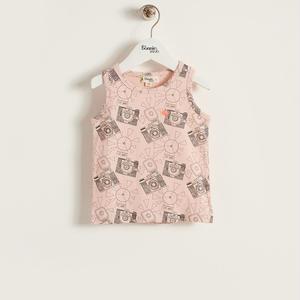 【organic cotton】カメラプリントノースリーブTシャツ(ピンク/ベビー)