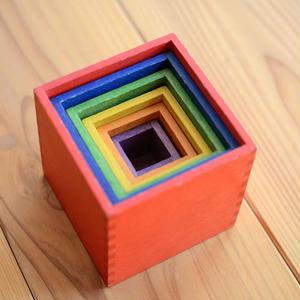 【1才 〜 】【大きさ・色・積木】ミニ箱積木 色
