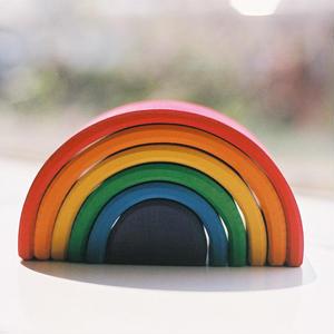 【1才〜】【積木】【色・想像力】虹色トンネル 大