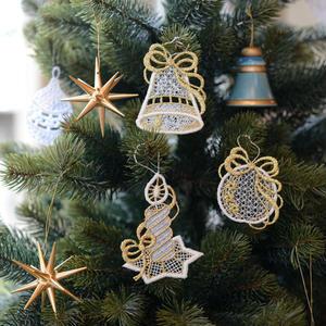 【クリスマス】オーナメントレース クリスマス 3枚セット