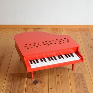 【ピアノ】【指でたたく(弾く)】KAWAI ミニピアノP-32(赤)