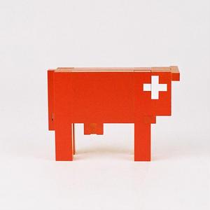 【〜大人】【立体パズル・組み合わせ】スイスの赤い牛(小)