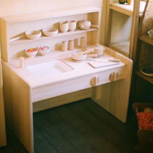【2才〜】【ままごと用台所】木遊舎 ひのきキッチンデスク(完成品)