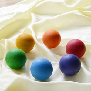【0才-7才】【色・握る・転がす・想像遊び】6色の木製ボール