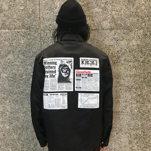 ALEXANDER WANG  NY POST BLACK  NYLON COACH JACKET