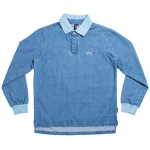 WAYWARD WHEELS RIALTO LONGSLEEVE POLO LIGHT DENIM WASH
