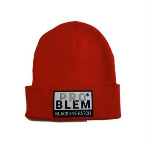 BLACK EYE PATCH PLOBLEM KNIT CAP RED