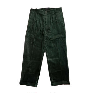 MAIDEN NOIR  PLEATED CORD TROUSERS  PINE(GREEN)