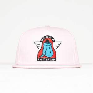 BY PARRA 5 PANEL SNAPBACK HAT AMSTERDAM WINGS PINK