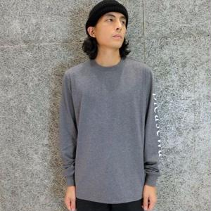 FUTUR PLEASE WAIT L/S T-SHIRTS   DARK HEATHER GREY