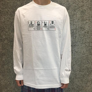 HOTEL BLUE MUGSHOT  LONG SLEEVE TEE WHITE