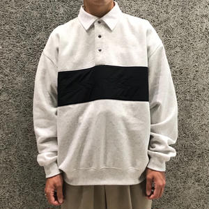 ALEXANDER WANG  LONG SLEEVE VINTAGE FLEECE POLO GREY
