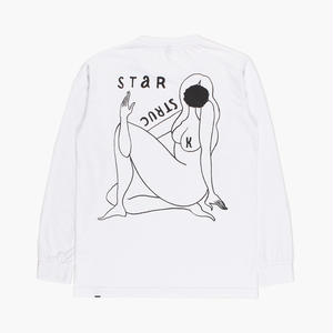 BY PARRA STAR STRUCKLONG SLEEVE WHITE