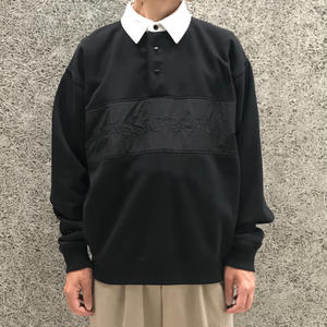ALEXANDER WANG  LONG SLEEVE VINTAGE FLEECE POLO BLACK