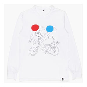 BY PARRA LONGSLEEVE T-SHIRTS BIKER GIRLS WHITE