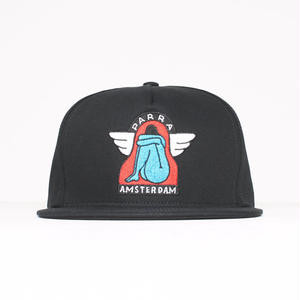 BY PARRA 5 PANEL SNAPBACK HAT AMSTERDAM WINGS BLACK